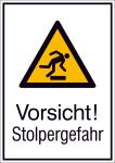 Kombischild mit Warnzeichen und Zusatztext, Vorsicht! Stolpergefahr (Maße (BxH)/Material: 131x185mm/Folie,selbstklebend (Art.Nr.: 21.a8025))