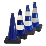 Leitkegel -Safety- aus PVC, Höhe 500 mm, blau tagesleuchtend, wahlweise mit (Folien-) Streifen (Folie: ohne Folie (Art.Nr.: 34726))