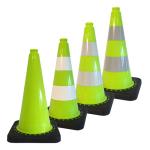 Leitkegel -Safety- aus PVC, Höhe 500 mm, grün tagesleuchtend, wahlweise mit (Folien-) Streifen (Folie: ohne Folie (Art.Nr.: 34722))