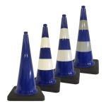 Leitkegel -Safety- aus PVC, Höhe 750 mm, blau tagesleuchtend, wahlweise mit (Folien-) Streifen (Folie: ohne Folie (Art.Nr.: 34739))