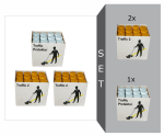 Markierfarben-Set -Protect Traffic-, Markierfarbe -Traffic 2- und Spezial Versiegelungslack -Traffic Protector- (Modell: Markierfarbe -Traffic 2-<br> <b>2 Kartons gelb (24 Stk.)</b><br>Versiegelungslack<br>-Traffic Protector<br> <b>1 Karton (12 Stk.)</b> (A