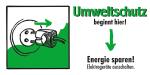 Motivationsschild Energie sparen! Elektrogeräte ausschalten, rechteckig