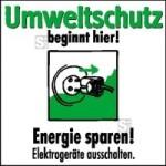 Motivationsschild Energie sparen! Elektrogeräte ausschalten, viereckig (Maße (BxH): 100 x 100 mm (Art.Nr.: 35.6888))