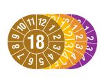 Prüfplaketten mit Jahresfarbe (1 Jahr), 2018-2021, Jahreszahl 2 oder 4-stellig, Bogen