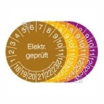 Prüfplaketten mit Jahresfarbe (6 Jahre), 2018 / 2023 - 2021 / 2026, Elektr. geprüft, Rolle (Zeitraum/Farbe: 2018-2023/braun (Art.Nr.: 31.3654-18))