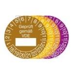 Prüfplaketten mit Jahresfarbe (6 Jahre), 2018 / 2023 - 2021 / 2026, Geprüft gemäß VDE, 15er-Bogen (Zeitraum/Farbe: 2018-2023/braun (Art.Nr.: 30.0807-18))