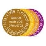 Prüfplaketten mit Jahresfarbe (6 Jahre), 2018 / 2023 - 2021 / 2026, Geprüft nach VDE 0701 / 0702, Rolle (Zeitraum/Farbe: 2018-2023/braun (Art.Nr.: 31.3713-18))