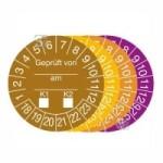 Prüfplaketten mit Jahresfarbe (6 Jahre), 2018 / 2023 - 2021 / 2026, Geprüft von... am..., 15er-Bogen (Zeitraum/Farbe: 2018-2023/braun (Art.Nr.: 30.0808-18))