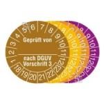 Prüfplaketten mit Jahresfarbe (6 Jahre), 2018 / 2023 - 2021 / 2026, Geprüft von... nach DGUV Vorschrift 3, 15er-Bogen (Zeitraum/Farbe: 2018-2023/braun (Art.Nr.: 30.c2135-18))