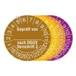 Prüfplaketten mit Jahresfarbe (6 Jahre), 2018 / 2023 - 2021 / 2026, Geprüft von... nach DGUV Vorschrift 3, Rolle (Zeitraum/Farbe: 2019-2024/gelb (Art.Nr.: 31.c2135-19))