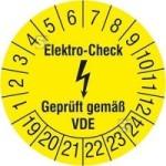 Prüfplaketten ohne Jahresfarbe (6 Jahre), Elektro-Check, Gepr. gem. VDE, 2018 / 2023 - 2021 / 2026, Bogen (Zeitraum: 2020-2025 (Art.Nr.: 30.c3110-20))