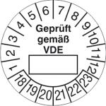 Prüfplaketten ohne Jahresfarbe (6 Jahre), Geprüft gemäß VDE, 2018 / 2023 - 2021 / 2026, Bogen