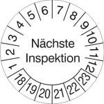 Prüfplaketten ohne Jahresfarbe (6 Jahre), Nächste Inspektion, 2018 / 2023 - 2021 / 2026, Bogen (Zeitraum: 2018-2023 (Art.Nr.: 30.3690-18))