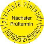 Pr&uuml;fplaketten ohne Jahresfarbe (6 Jahre), N&auml;chster Pr&uuml;ftermin, 2018 / 2023 - 2021 / 2026, Bogen (Ma&szlig;e &Oslash;/Menge/Zeitraum: &Oslash; 30mm/15er-Bogen<br>2019-2024 (Art.Nr.: 30.3728-19))