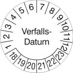 Prüfplaketten ohne Jahresfarbe (6 Jahre), Verfalls-Datum, 2018 / 2023 - 2021 / 2026, Bogen (Zeitraum: 2018-2023 (Art.Nr.: 30.3691-18))