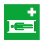 Rettungsschild Krankentrage (Ma&szlig;e (BxH)/Material: 150x150mm<br>Folie,selbstklebend (Art.Nr.: 21.a3050))