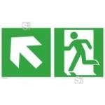 Rettungsschild Notausgang (links) mit Richtungspfeil links aufwärts, langnachleuchtend (Maße (BxH)/Material: 300x150mm/Folie,selbstklebend (Art.Nr.: 38.3048))