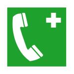 Rettungsschild Notruftelefon (Ma&szlig;e (BxH)/Material: 150x150mm/Kunststoff<br>witterungsbest&auml;ndig (Art.Nr.: 43.0067))
