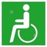 Rettungsschild Rettungsweg - Notausgang für Rollstuhlfahrer links, langnachleuchtend