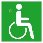 Rettungsschild Rettungsweg - Notausgang für Rollstuhlfahrer rechts, langnachleuchtend