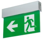 Rettungszeichenleuchte -LED Fux- mit Autotest-Funktion, Erkennungsweite 27 m, Wand-, Pendel- oder Deckenmontage (Befestigung/Ma&szlig;e(HxT)/Notlichtdauer: Deckenmontage/213x40mm<br> <b>Batterie 3 Stunden</b> (800 mAH) (Art.Nr.: 20519))