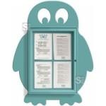 Schaukasten -Kids- Pinguin, 899 x 1117 mm, Bautiefe 30 mm, Nutzinnentiefe 15,5 mm (Farbe: RAL 1017 safrangelb (Art.Nr.: 23413))