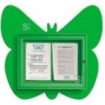Schaukasten -Kids- Schmetterling, 730 x 674 mm, Bautiefe 30 mm, Nutzinnentiefe 15,5 mm (Farbe: RAL 1017 safrangelb (Art.Nr.: 23403))