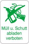 Schild zur Abfallentsorgung, Müll und Schutt abladen verboten, 400 x 600 mm