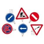 Schilder aus Kunststoff mit Verkehrszeichen, aufschraubbar, diverse Formen (Modell/Ma&szlig;e:  <b>Fahrrichtung</b>,beidseitig<br>je 1x rechts- und linksweisend<br>&Oslash; 380mm,rund  (Art.Nr.: 36517))