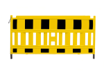 Schrankenzaun -Euro-, L&auml;nge 2100 mm, wahlweise gelb oder orange (Farbe/Lampenadapter:  <b>orange mit rot-wei&szlig;er Folie/</b><br>ohne Lampenadapter (Art.Nr.: 33420k-o))
