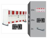 Schrankenzaun Komplett-Set -Vario III-, 10 x Schrankenzaun, 2 x Lagerschienen, 20 x Fußplatte K1