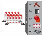 Schrankenzaun Komplett-Set -Vario II- für Vollsperrung, inkl. Warnleuchten, Fußplatten, Batterien