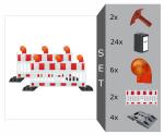Schrankenzaun Komplett-Set -Vario I- für Teilsperrung, inkl. Warnleuchten, Fußplatten, Batterien