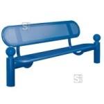 Sitzbank -Bowl- mit Rückenlehne, aus Stahl, Sitz- und Rückenfläche aus Stahllochblech (Farbe: RAL 3020 verkehrsrot (Art.Nr.: 22836))