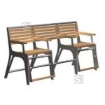Sitzbank -Comfort- mit Gasdruckfeder, speziell für Senioren, aus Stahl, Sitz- und Rückenfläche aus Robinien-Holz, mobil