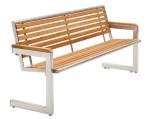 Sitzbank -Cosmo- mit Rückenlehne, aus Edelstahl, Sitz- und Rückenfläche aus Robinien-Holz, mobil (Anfertigung: gestrahlt (matt) (Art.Nr.: 20846))
