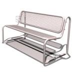 Sitzbank -Ercole- mit Rückenlehne, aus Stahl, Sitz- und Rückenfläche aus Drahtgitter, mobil (Farbe: RAL6009 tannengrün (Art.Nr.: 23304))