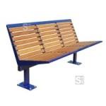 Sitzbank -Level- mit Rückenlehne, Stahl, Sitz- und Rückenfläche aus Robinien-Holz, zum Aufdübeln
