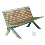 Sitzbank -Level- mit R&uuml;ckenlehne, aus Edelstahl, Sitz- und R&uuml;ckenfl&auml;che aus Robinien-Holz, mobil (Modell/Breite:  <b>3-Sitzer</b>/1475mm (Art.Nr.: 20878))