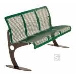 Sitzbank -Lotus- mit Rückenlehne, aus Stahl, Sitz- und Rückenfläche aus Drahtgitter, mobil