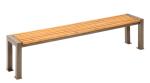 Sitzbank -Lumino- ohne Rückenlehne, aus Stahl, Sitzfläche aus Robinien-Holz, mobil (Farbe Gestell: RAL9007 graualuminium (Art.Nr.: 23120))