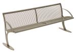 Sitzbank -Tongue- aus Stahl, optionale Sitz- und Rückenfläche aus Drahtgitter oder Robinien-Holz
