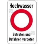 Sonderschild, Hochwasser, Betreten und Befahren verboten (Breite x Höhe: 500 x 750 mm (Art.Nr.: 15004))