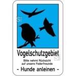Sonderschild, Vogelschutzgebiet. Bitte nehmt Rücksicht auf unsere Federfreunde - Hunde anleinen -
