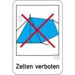Sonderschild, Zelten verboten, 400 x 600 mm