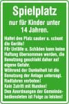 Spielplatzschild, Spielplatz nur für Kinder unter 14 Jahren...