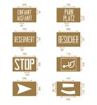 Spritzschablonen für Bodenmarkierungen, Satz 1, Inhalt 8 Schablonen