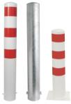 Stahlrohrpoller / Rammschutzpoller -Bollard- Ø 152 mm aus Stahl, zum Einbetonieren oder Aufdübeln, feststehend, wahlweise rot / weiß