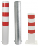 Stahlrohrpoller / Rammschutzpoller -Bollard- Ø 193 mm aus Stahl, zum Einbetonieren oder Aufdübeln, feststehend, wahlweise rot / weiß