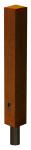 Stilpoller -Acero- 122 x 122 mm aus Cortenstahl, zum Einbetonieren oder Aufd&uuml;beln, herausnehmbar o. feststehend (Befestigung/Schlie&szlig;ung: zum Aufd&uuml;beln mit Bodenplatte<br>feststehend, ohne Verriegelung (Art.Nr.: 25892))